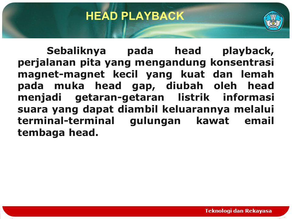 Sebaliknya pada head playback, perjalanan pita yang mengandung konsentrasi magnet-magnet kecil yang kuat dan lemah pada muka head gap, diubah oleh hea