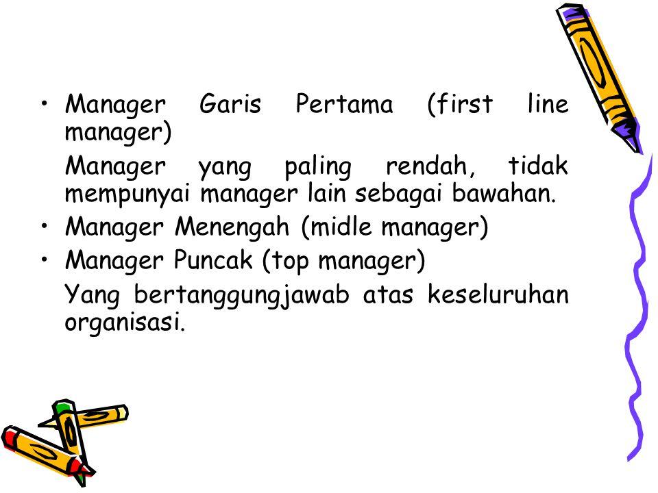 Manager Garis Pertama (first line manager) Manager yang paling rendah, tidak mempunyai manager lain sebagai bawahan. Manager Menengah (midle manager)