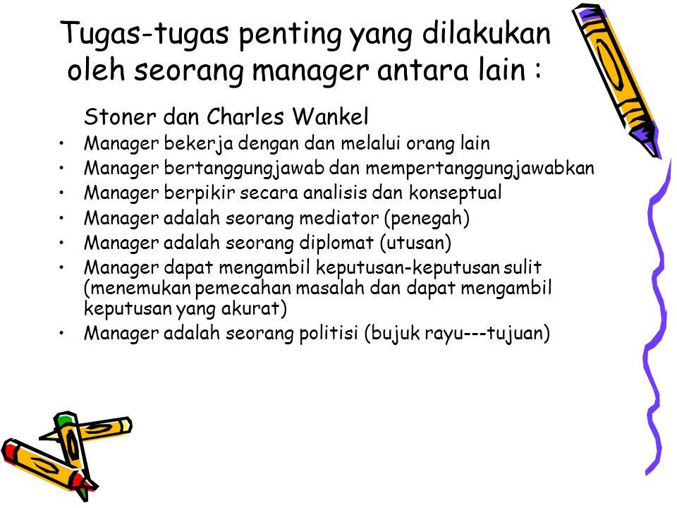Tugas-tugas penting yang dilakukan oleh seorang manager antara lain : Stoner dan Charles Wankel Manager bekerja dengan dan melalui orang lain Manager