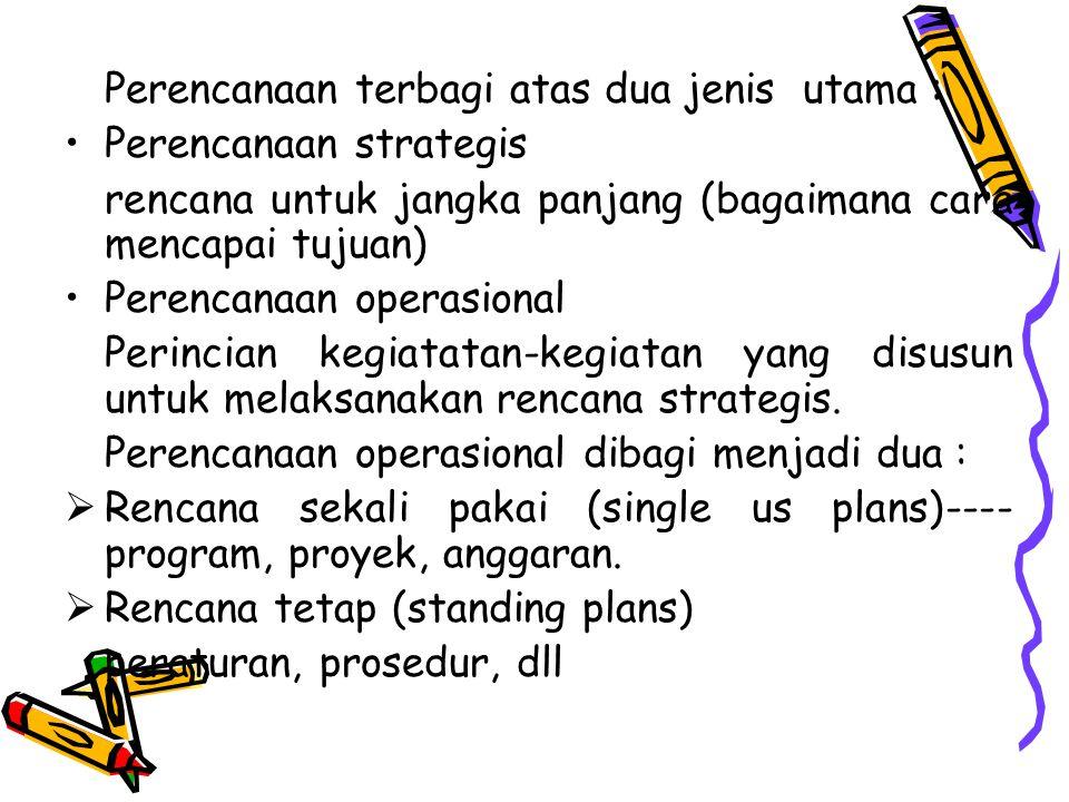 Perencanaan terbagi atas dua jenis utama : Perencanaan strategis rencana untuk jangka panjang (bagaimana cara mencapai tujuan) Perencanaan operasional