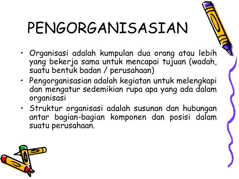 PENGORGANISASIAN Organisasi adalah kumpulan dua orang atau lebih yang bekerja sama untuk mencapai tujuan (wadah, suatu bentuk badan / perusahaan) Peng