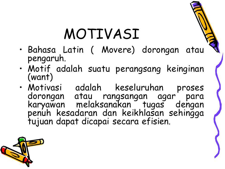 MOTIVASI Bahasa Latin ( Movere) dorongan atau pengaruh. Motif adalah suatu perangsang keinginan (want) Motivasi adalah keseluruhan proses dorongan ata