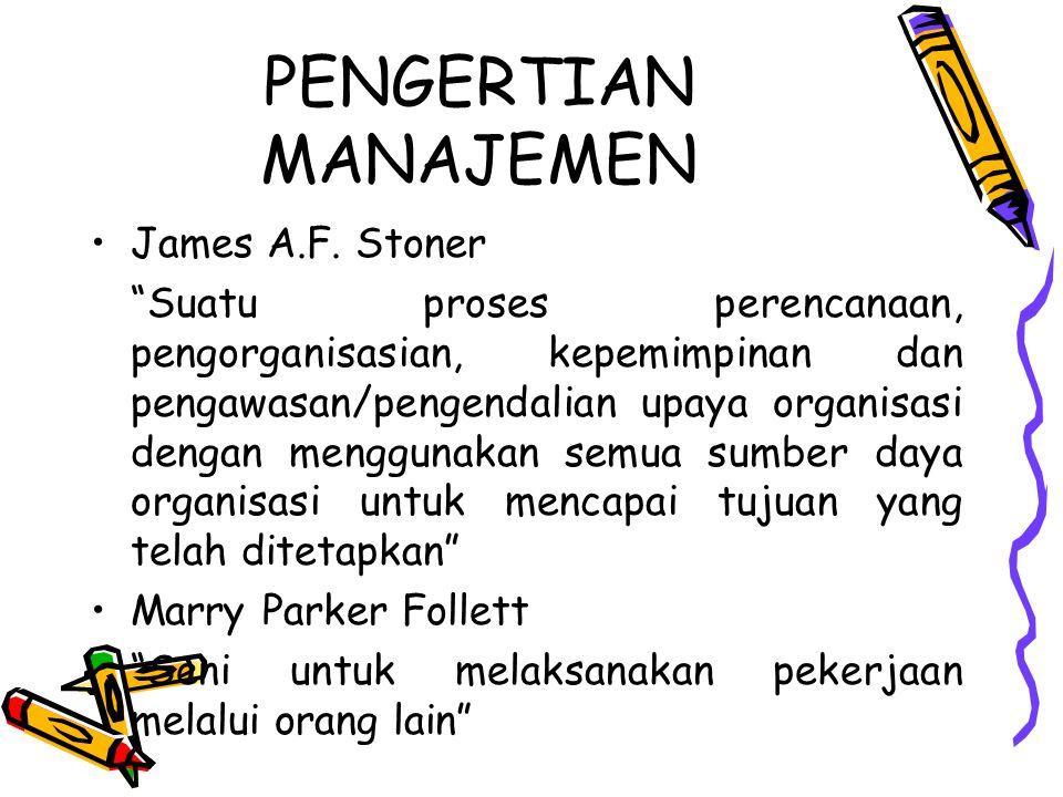"PENGERTIAN MANAJEMEN James A.F. Stoner ""Suatu proses perencanaan, pengorganisasian, kepemimpinan dan pengawasan/pengendalian upaya organisasi dengan m"