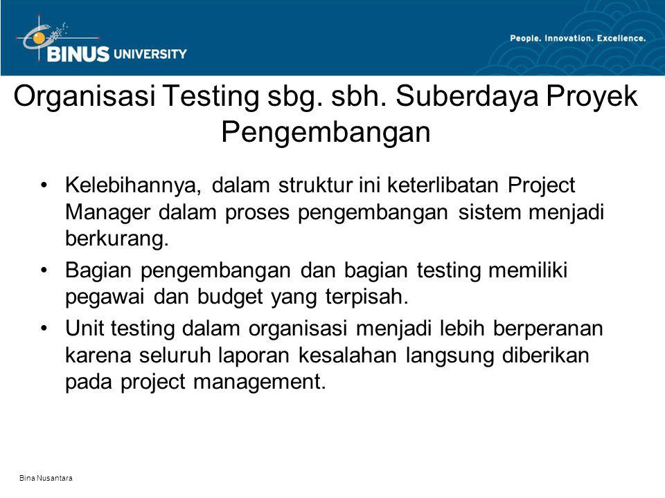 Bina Nusantara Organisasi Testing sbg. sbh. Suberdaya Proyek Pengembangan Kelebihannya, dalam struktur ini keterlibatan Project Manager dalam proses p