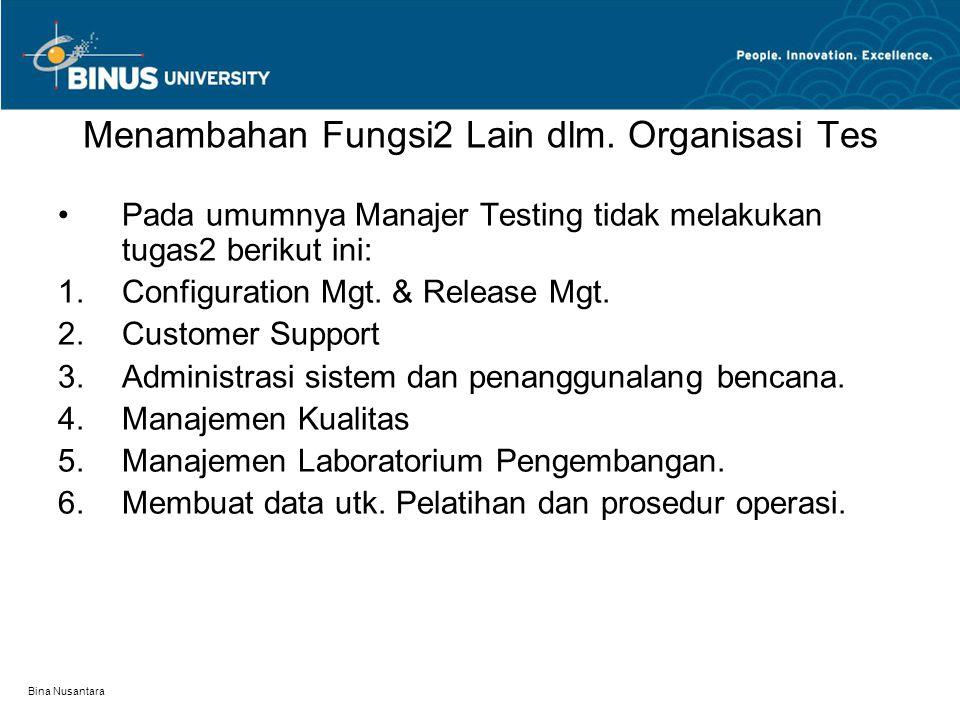 Bina Nusantara Menambahan Fungsi2 Lain dlm. Organisasi Tes Pada umumnya Manajer Testing tidak melakukan tugas2 berikut ini:  Configuration Mgt. & Re