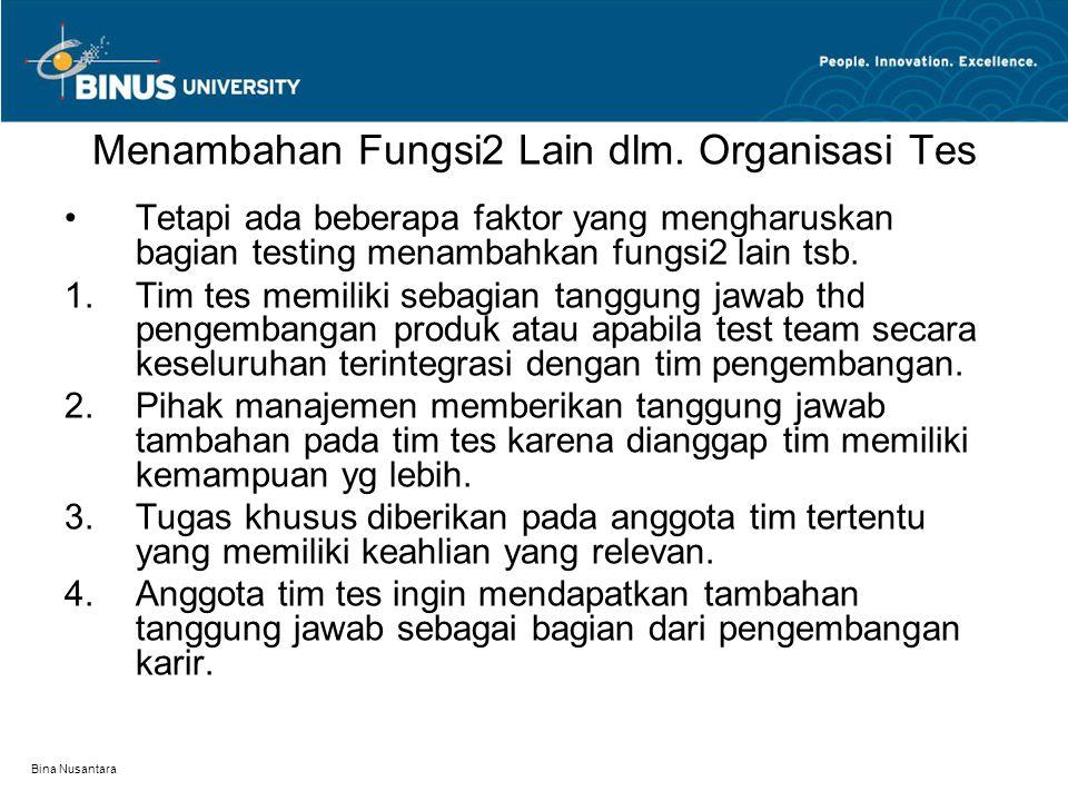 Bina Nusantara Menambahan Fungsi2 Lain dlm. Organisasi Tes Tetapi ada beberapa faktor yang mengharuskan bagian testing menambahkan fungsi2 lain tsb. 
