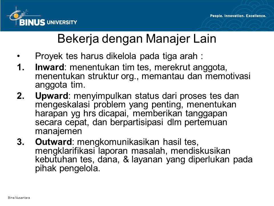 Bina Nusantara Bekerja dengan Manajer Lain Proyek tes harus dikelola pada tiga arah :  Inward: menentukan tim tes, merekrut anggota, menentukan stru