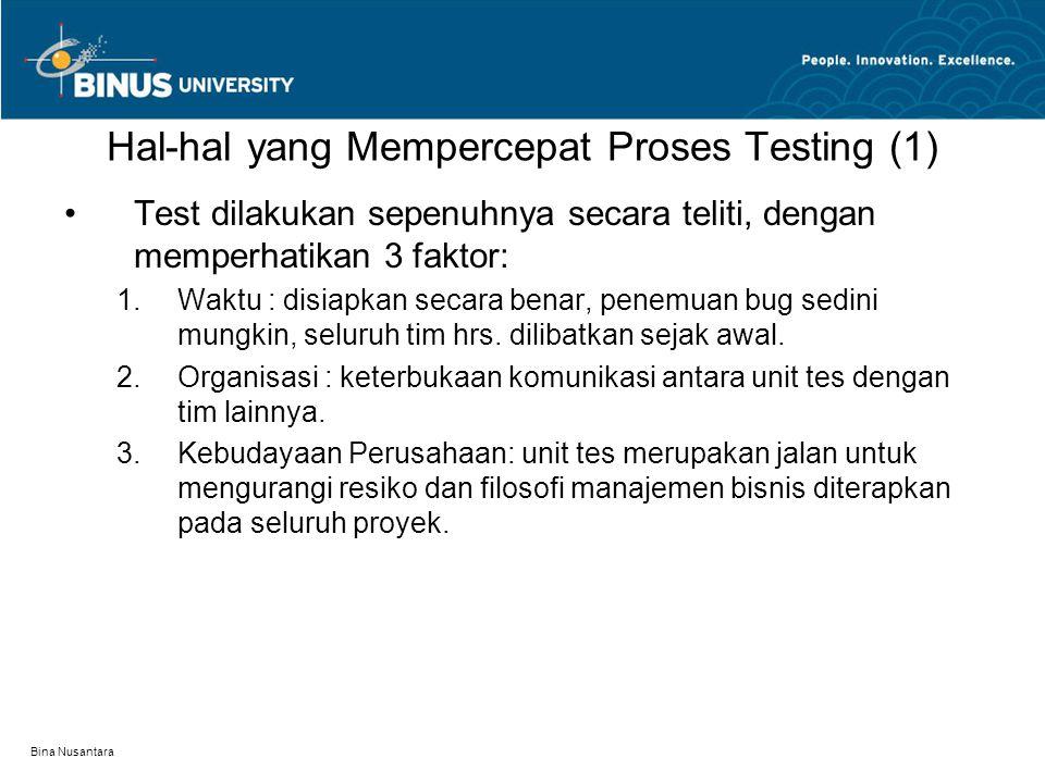 Bina Nusantara Hal-hal yang Mempercepat Proses Testing (1) Test dilakukan sepenuhnya secara teliti, dengan memperhatikan 3 faktor:  Waktu : disiapka