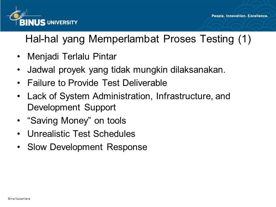 Bina Nusantara Hal-hal yang Memperlambat Proses Testing (1) Menjadi Terlalu Pintar Jadwal proyek yang tidak mungkin dilaksanakan. Failure to Provide T