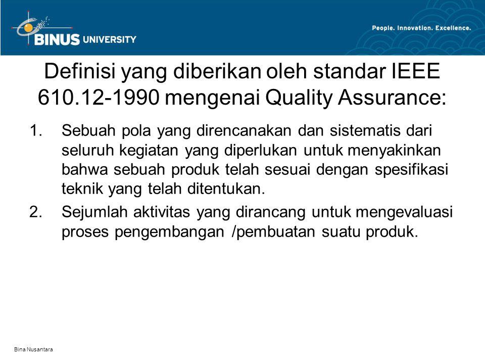 Bina Nusantara Definisi yang diberikan oleh standar IEEE 610.12-1990 mengenai Quality Assurance: 1.Sebuah pola yang direncanakan dan sistematis dari s