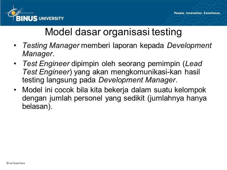 Bina Nusantara Model dasar organisasi testing Testing Manager memberi laporan kepada Development Manager. Test Engineer dipimpin oleh seorang pemimpin