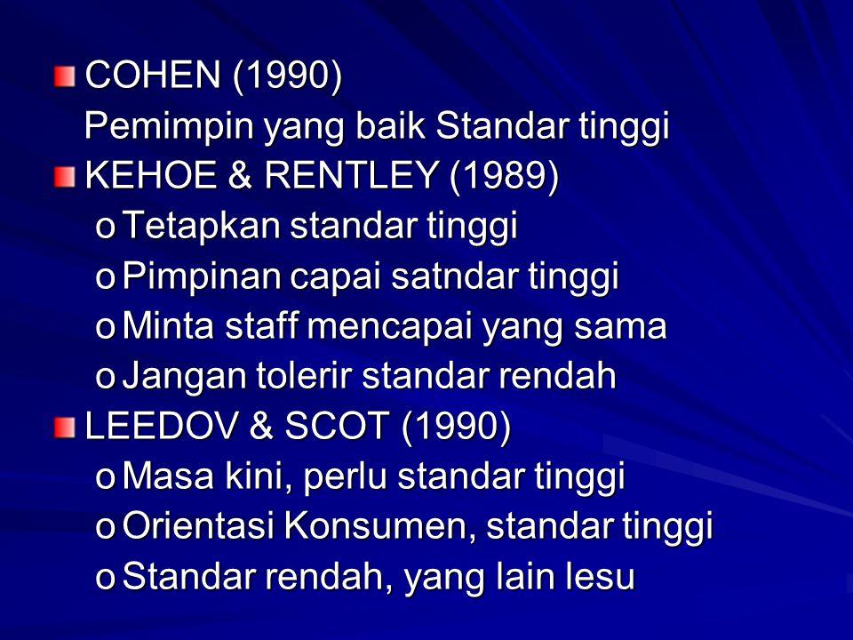  TABISH (1998) KEPEMIMPINAN BERMUTU  Pendidikan, latihan & Kepemimpinan aktif dari Manajer puncak.  Adanya jaringan koordinasi, Bimbingan dan penun