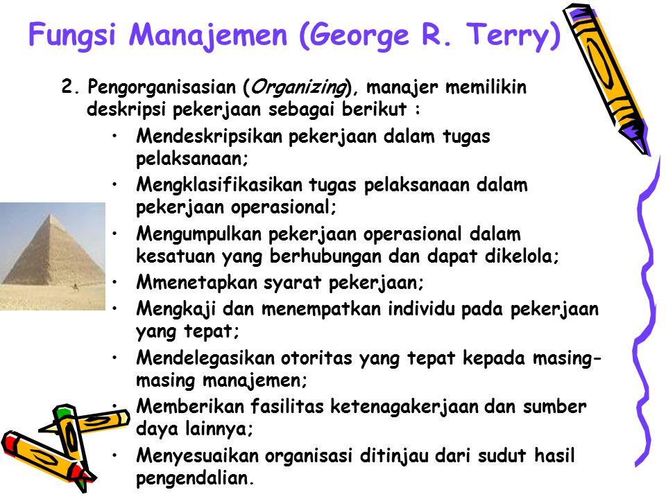 Fungsi Manajemen (George R. Terry) 1.Perencanaan (Planning), manajer memilikin deskripsi pekerjaan sebagai berikut : Menetapkan, mendeskripsikan dan m