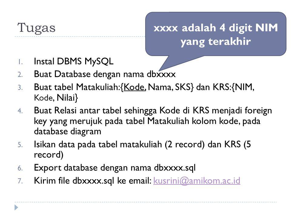 Tugas 1. Instal DBMS MySQL 2. Buat Database dengan nama dbxxxx 3. Buat tabel Matakuliah:{Kode, Nama, SKS} dan KRS:{NIM, Kode, Nilai} 4. Buat Relasi an