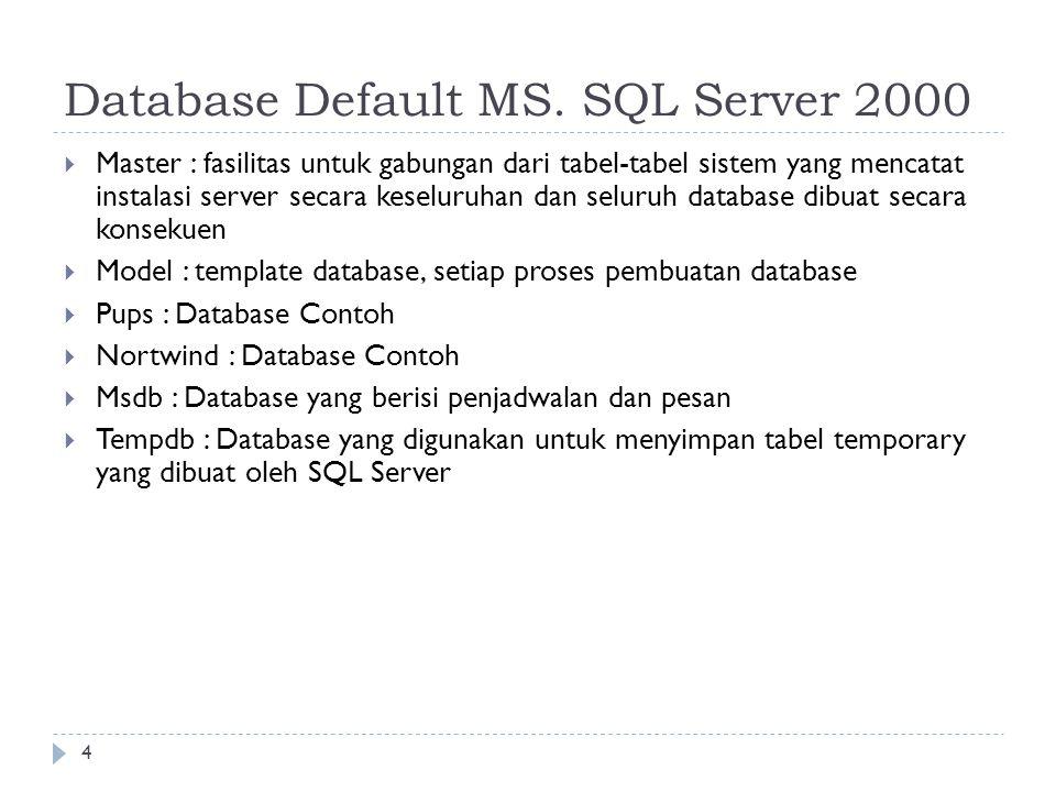 4 Database Default MS. SQL Server 2000  Master : fasilitas untuk gabungan dari tabel-tabel sistem yang mencatat instalasi server secara keseluruhan d