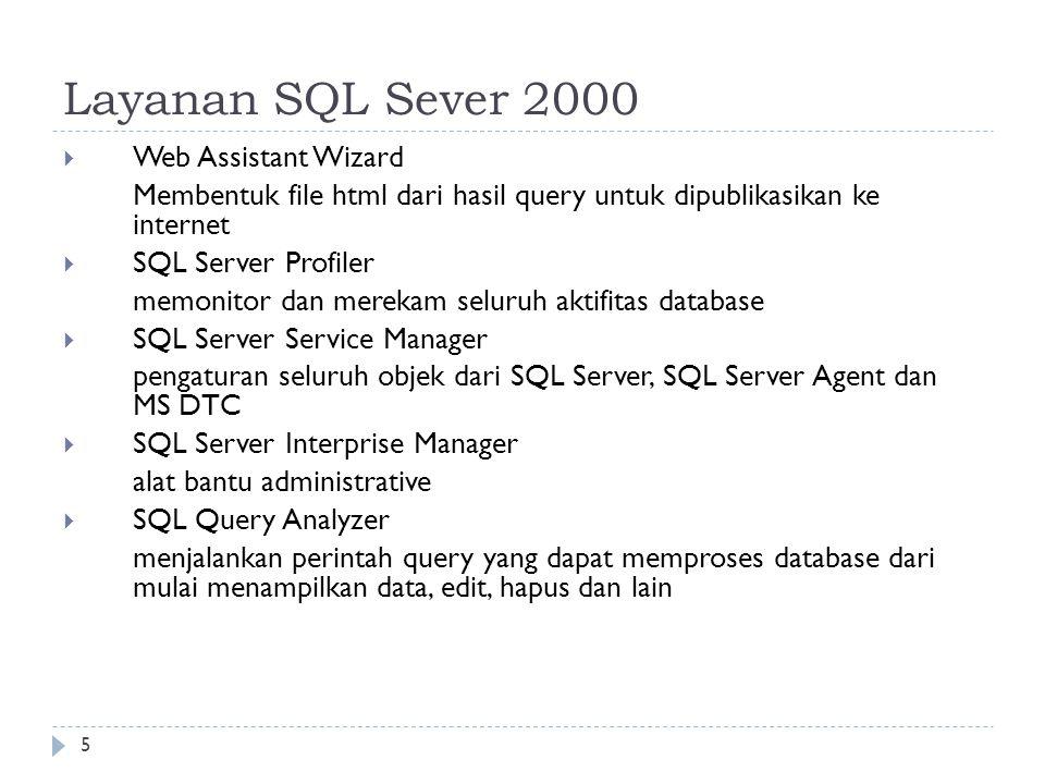 5 Layanan SQL Sever 2000  Web Assistant Wizard Membentuk file html dari hasil query untuk dipublikasikan ke internet  SQL Server Profiler memonitor