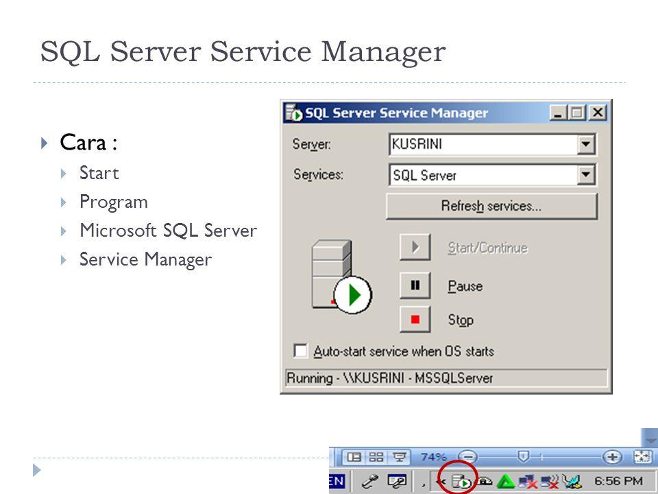 6 SQL Server Service Manager  Cara :  Start  Program  Microsoft SQL Server  Service Manager