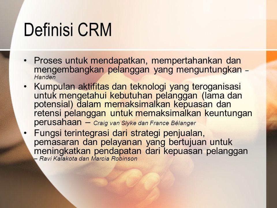 Definisi CRM Proses untuk mendapatkan, mempertahankan dan mengembangkan pelanggan yang menguntungkan – Handen Kumpulan aktifitas dan teknologi yang te