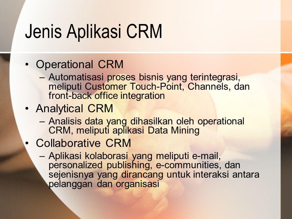 Jenis Aplikasi CRM Operational CRM –Automatisasi proses bisnis yang terintegrasi, meliputi Customer Touch-Point, Channels, dan front-back office integ