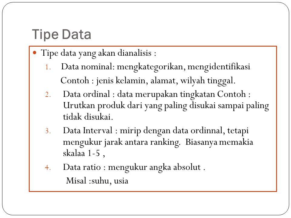 Tipe Data Tipe data yang akan dianalisis : 1. Data nominal: mengkategorikan, mengidentifikasi Contoh : jenis kelamin, alamat, wilyah tinggal. 2. Data