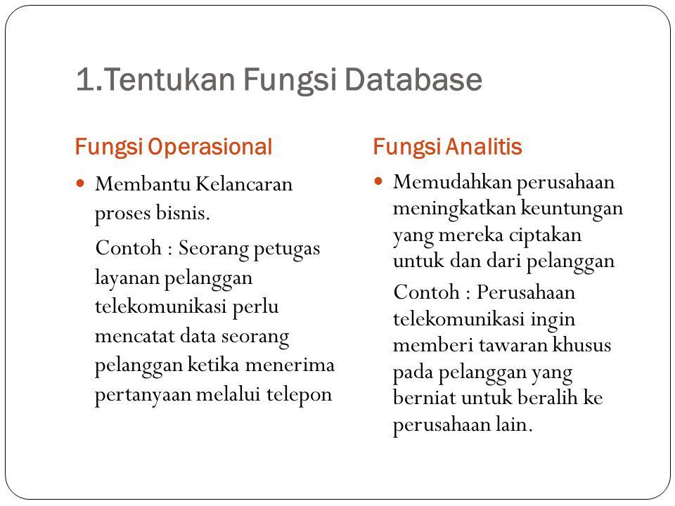 1.Tentukan Fungsi Database Fungsi OperasionalFungsi Analitis Membantu Kelancaran proses bisnis. Contoh : Seorang petugas layanan pelanggan telekomunik