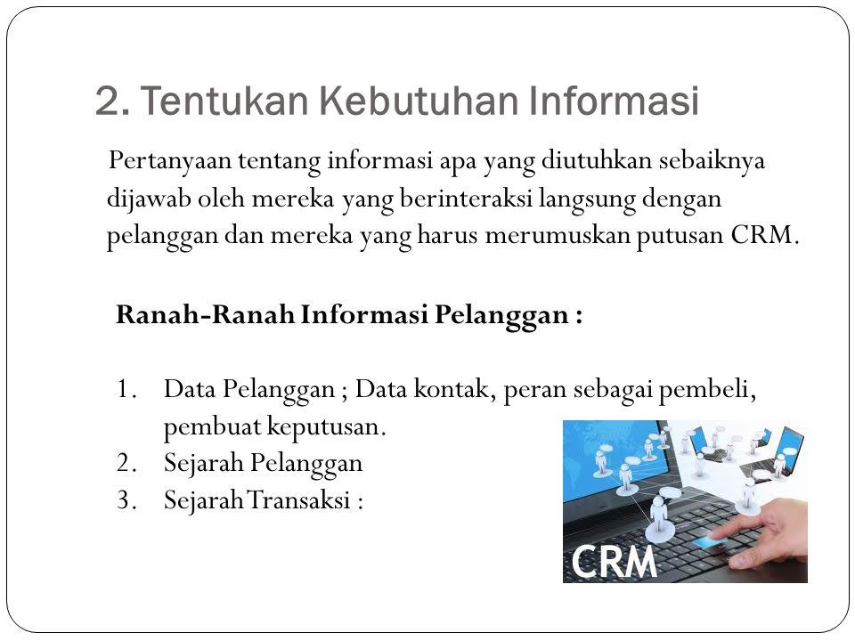 2. Tentukan Kebutuhan Informasi Pertanyaan tentang informasi apa yang diutuhkan sebaiknya dijawab oleh mereka yang berinteraksi langsung dengan pelang