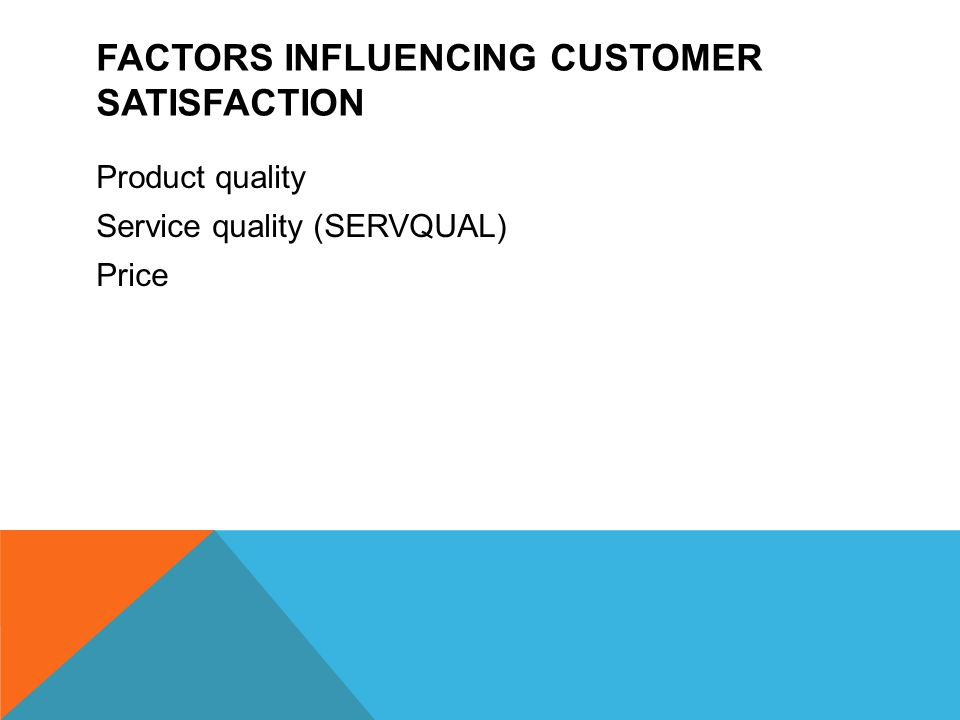 FACTORS INFLUENCING CUSTOMER SATISFACTION Product quality Service quality (SERVQUAL) Price