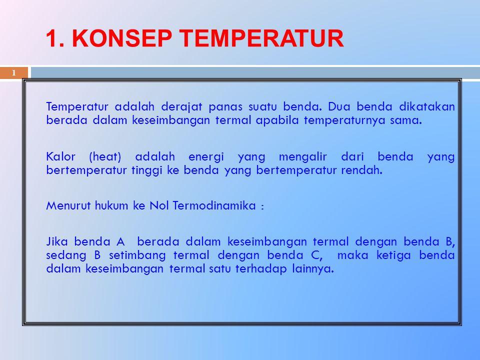 1. KONSEP TEMPERATUR 1 Temperatur adalah derajat panas suatu benda. Dua benda dikatakan berada dalam keseimbangan termal apabila temperaturnya sama. K