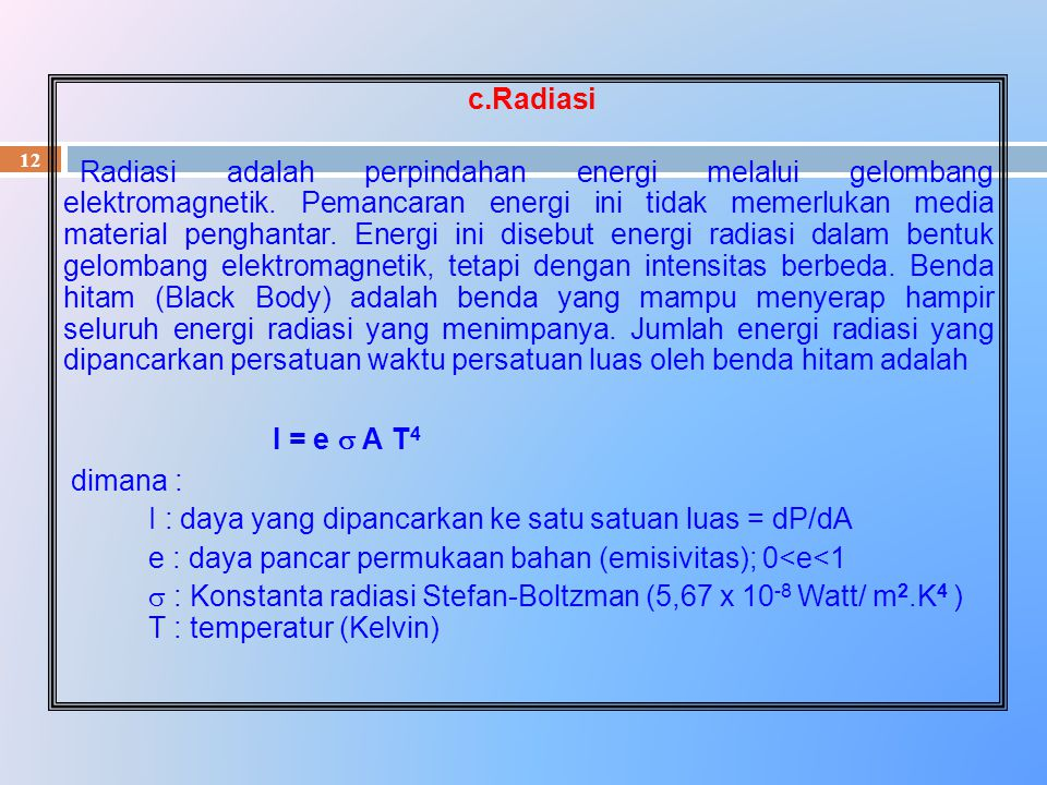 12 c.Radiasi Radiasi adalah perpindahan energi melalui gelombang elektromagnetik. Pemancaran energi ini tidak memerlukan media material penghantar. En