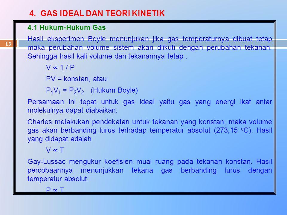 4. GAS IDEAL DAN TEORI KINETIK 13 4.1 Hukum-Hukum Gas Hasil eksperimen Boyle menunjukan jika gas temperaturnya dibuat tetap maka perubahan volume sist