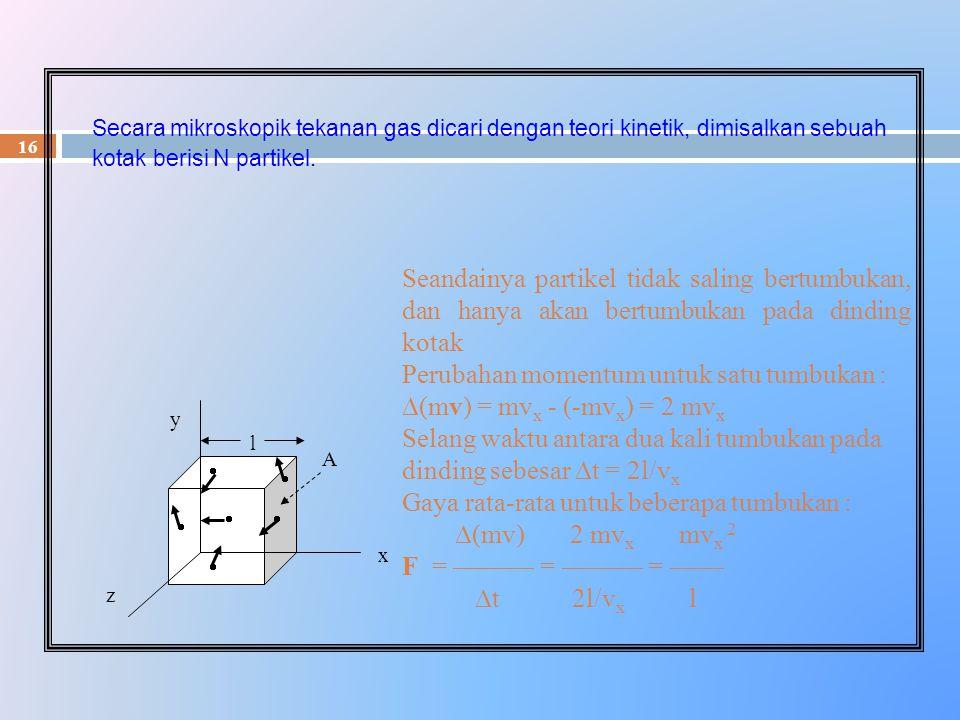 16 Secara mikroskopik tekanan gas dicari dengan teori kinetik, dimisalkan sebuah kotak berisi N partikel. A l z x y       Seandainya partikel ti