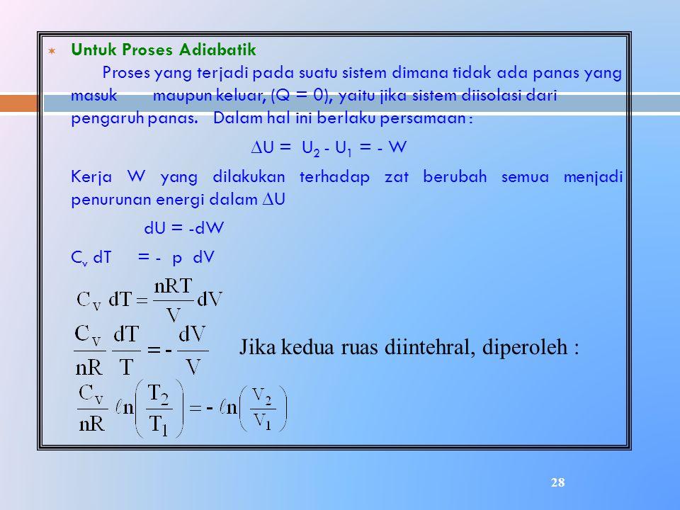 ¬ Untuk Proses Adiabatik Proses yang terjadi pada suatu sistem dimana tidak ada panas yang masuk maupun keluar, (Q = 0), yaitu jika sistem diisolasi d