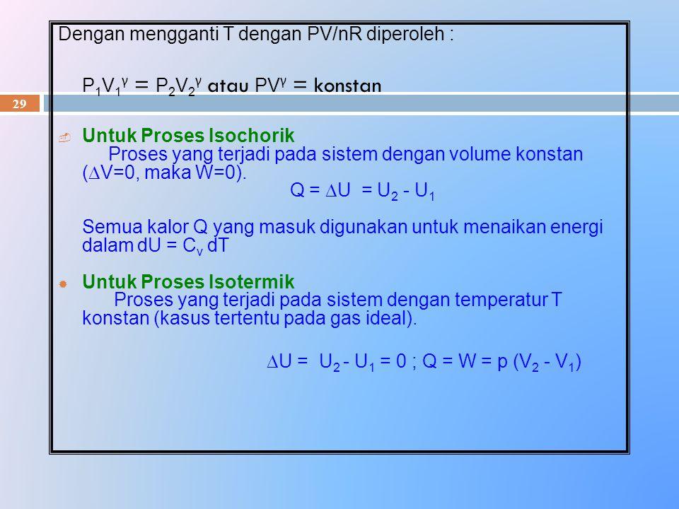 29 Dengan mengganti T dengan PV/nR diperoleh : P 1 V 1 γ = P 2 V 2 γ atau PV γ = konstan  Untuk Proses Isochorik Proses yang terjadi pada sistem deng