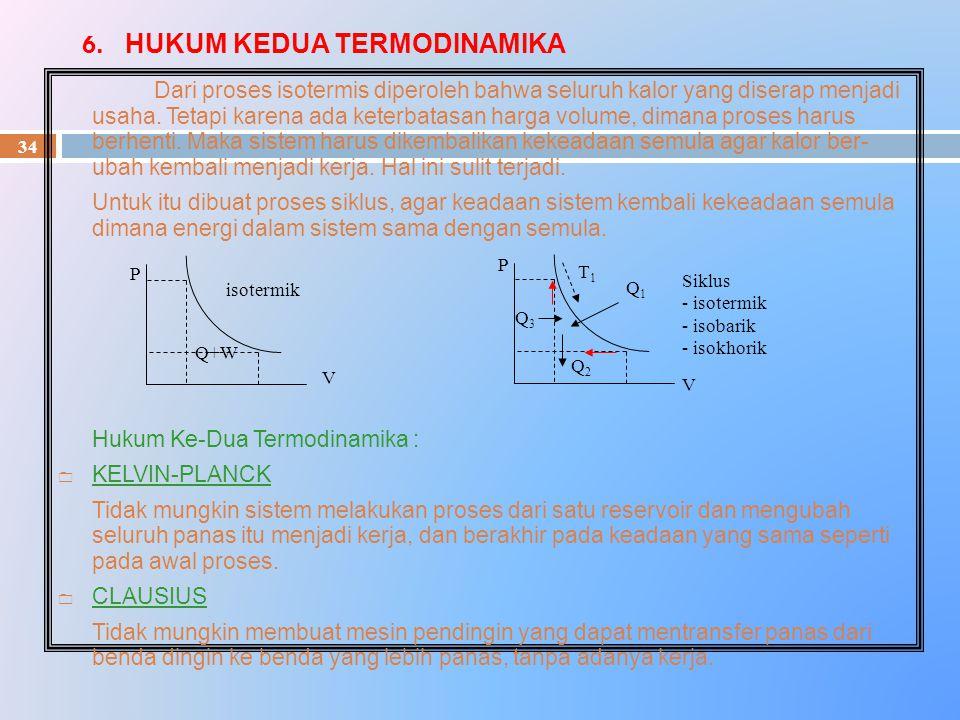 6. HUKUM KEDUA TERMODINAMIKA 34 Dari proses isotermis diperoleh bahwa seluruh kalor yang diserap menjadi usaha. Tetapi karena ada keterbatasan harga v