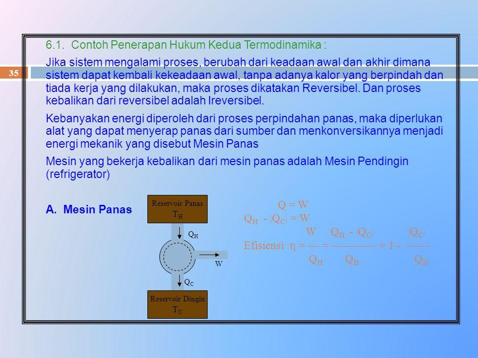 35 6.1. Contoh Penerapan Hukum Kedua Termodinamika : Jika sistem mengalami proses, berubah dari keadaan awal dan akhir dimana sistem dapat kembali kek