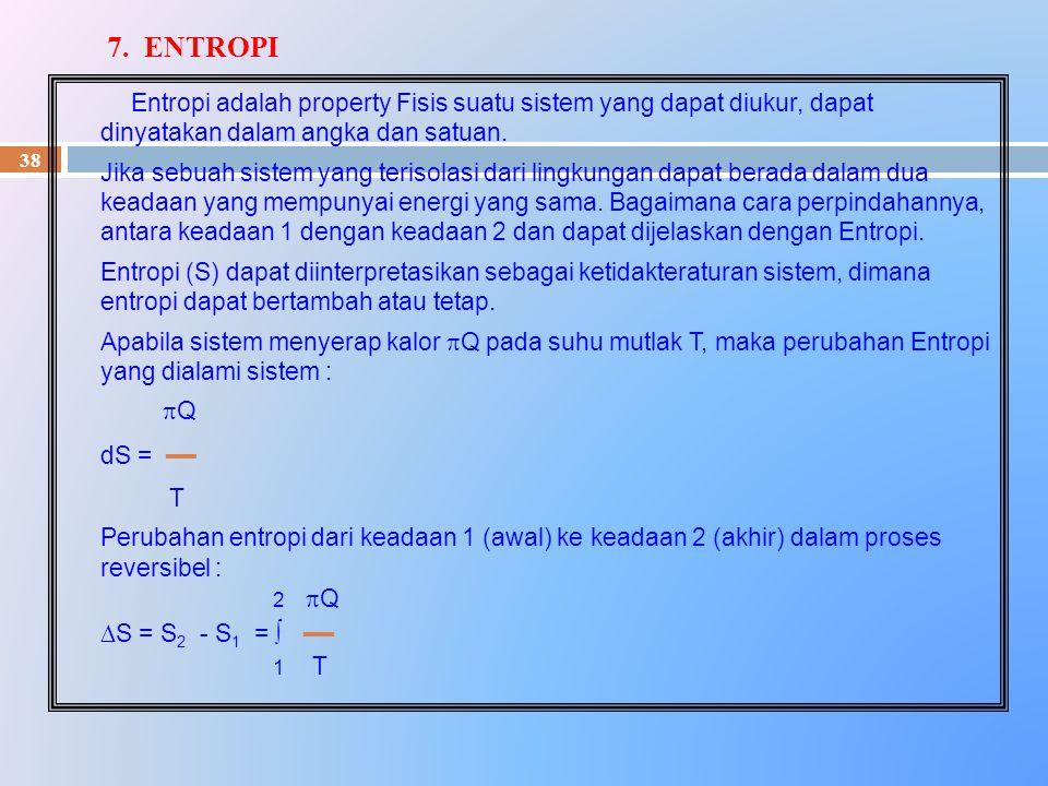 38 Entropi adalah property Fisis suatu sistem yang dapat diukur, dapat dinyatakan dalam angka dan satuan. Jika sebuah sistem yang terisolasi dari ling
