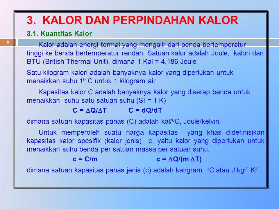 9 3. KALOR DAN PERPINDAHAN KALOR 3.1. Kuantitas Kalor Kalor adalah energi termal yang mengalir dari benda bertemperatur tinggi ke benda bertemperatur