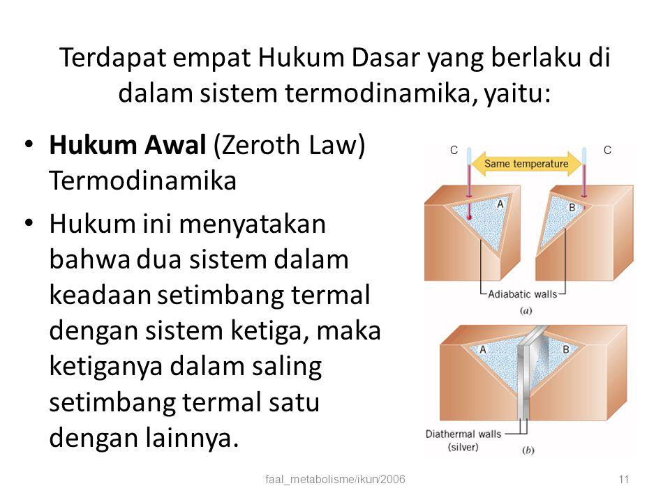 Terdapat empat Hukum Dasar yang berlaku di dalam sistem termodinamika, yaitu: Hukum Awal (Zeroth Law) Termodinamika Hukum ini menyatakan bahwa dua sistem dalam keadaan setimbang termal dengan sistem ketiga, maka ketiganya dalam saling setimbang termal satu dengan lainnya.