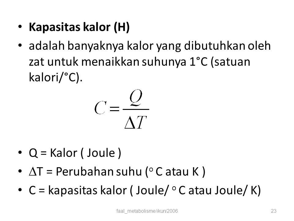 Kapasitas kalor (H) adalah banyaknya kalor yang dibutuhkan oleh zat untuk menaikkan suhunya 1°C (satuan kalori/°C).