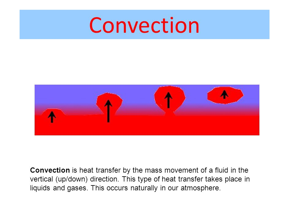Convection Convection is heat transfer by the mass movement of a fluid in the vertical (up/down) direction.