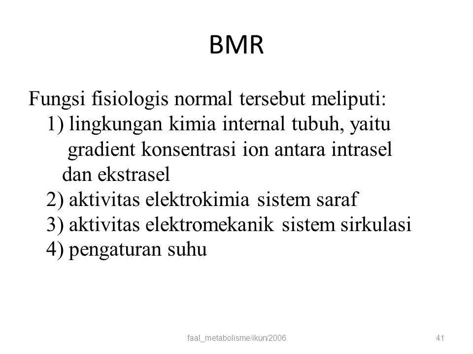 BMR Fungsi fisiologis normal tersebut meliputi: 1) lingkungan kimia internal tubuh, yaitu gradient konsentrasi ion antara intrasel dan ekstrasel 2) aktivitas elektrokimia sistem saraf 3) aktivitas elektromekanik sistem sirkulasi 4) pengaturan suhu faal_metabolisme/ikun/200641