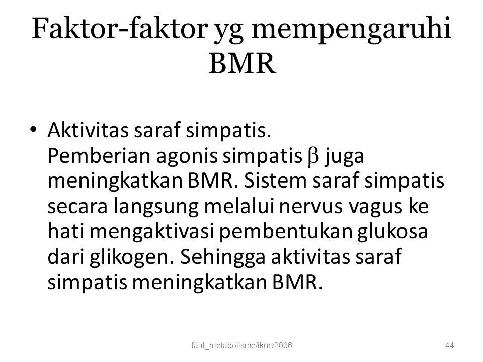 Faktor-faktor yg mempengaruhi BMR Aktivitas saraf simpatis.