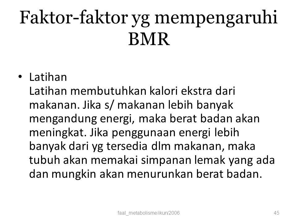 Faktor-faktor yg mempengaruhi BMR Latihan Latihan membutuhkan kalori ekstra dari makanan.