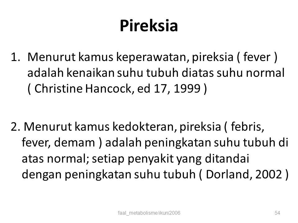 Pireksia 1.Menurut kamus keperawatan, pireksia ( fever ) adalah kenaikan suhu tubuh diatas suhu normal ( Christine Hancock, ed 17, 1999 ) 2.