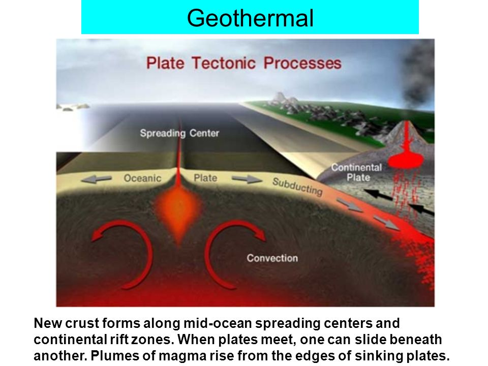 Geothermal New crust forms along mid-ocean spreading centers and continental rift zones.