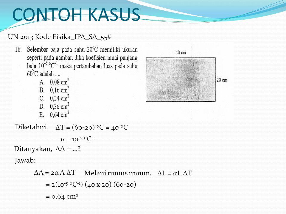 CONTOH KASUS UN 2013 Kode Fisika_IPA_SA_55# Jawab: Diketahui, ∆T = (60-20) 0 C = 40 0 C α = 10 -5 0 C -1 Ditanyakan,∆A = …? ∆A = 2α A ∆T = 2(10 -5 0 C