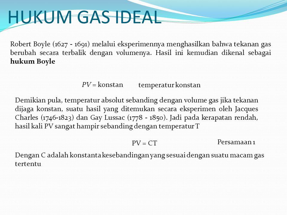 HUKUM GAS IDEAL Robert Boyle (1627 - 1691) melalui eksperimennya menghasilkan bahwa tekanan gas berubah secara terbalik dengan volumenya. Hasil ini ke