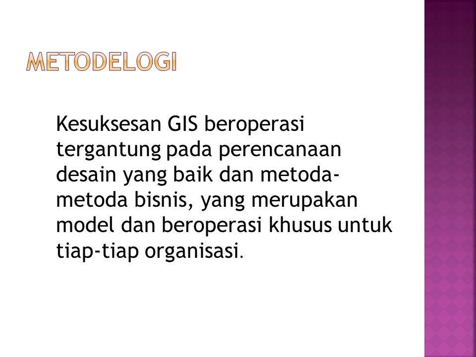 Kesuksesan GIS beroperasi tergantung pada perencanaan desain yang baik dan metoda- metoda bisnis, yang merupakan model dan beroperasi khusus untuk tiap-tiap organisasi.