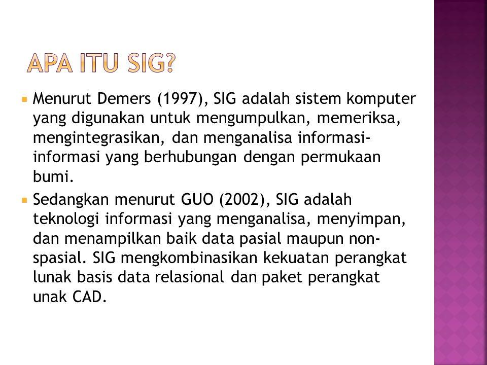  Menurut Demers (1997), SIG adalah sistem komputer yang digunakan untuk mengumpulkan, memeriksa, mengintegrasikan, dan menganalisa informasi- informasi yang berhubungan dengan permukaan bumi.