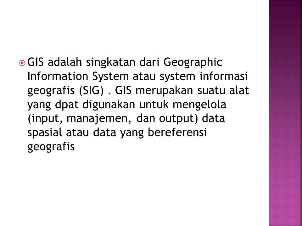  GIS adalah singkatan dari Geographic Information System atau system informasi geografis (SIG).